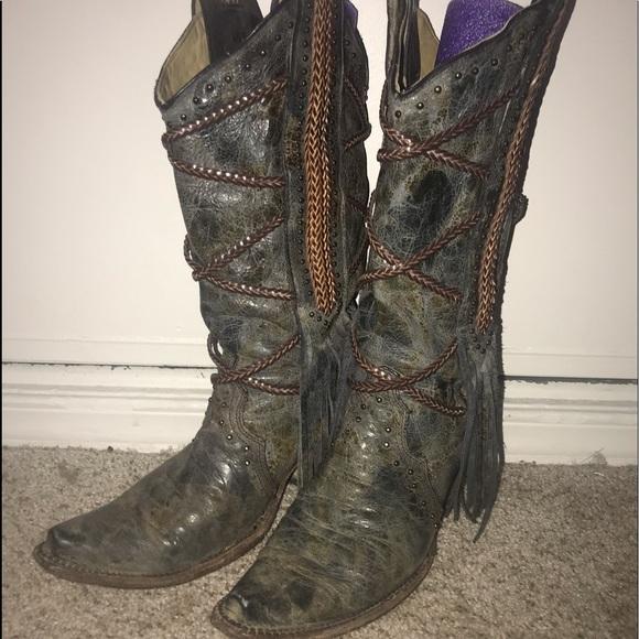 8575d763678 CORRAL Vintage Fringe Studded boots 8M